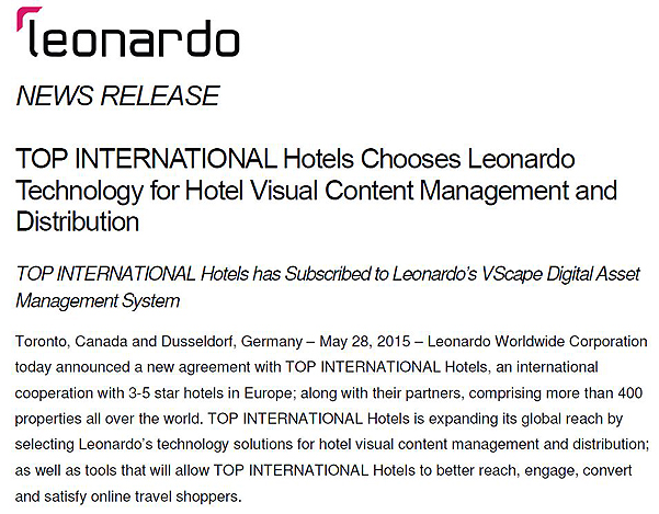LEONARDO TOP INTERNATIONAL Presseinfo